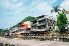 平溪线Shifen老镇在新北市,台湾 免版税库存图片