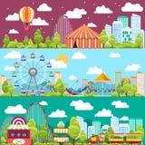 平的与转盘的设计概念性城市横幅 免版税库存照片