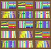 平的五颜六色的书架布局无缝的样式 免版税库存图片