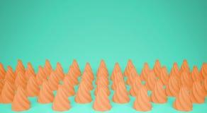 平的五颜六色的流行艺术构成用橙色党杯形蛋糕,面包店好吃的东西,在绿松石背景,仿造纹理拷贝 库存照片