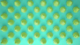平的五颜六色的流行艺术构成用绿党杯形蛋糕,面包店好吃的东西,在绿松石背景,仿造纹理拷贝 免版税库存图片