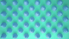 平的五颜六色的流行艺术构成用蓝色党杯形蛋糕,面包店好吃的东西,在绿松石背景,仿造纹理拷贝 免版税库存图片