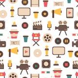 平的五颜六色的电影设计的无缝的样式 库存照片