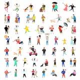 平的人字符收藏 男人和妇女动画片以各种各样的行动、姿势和活动 夫妇,家庭 向量例证