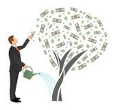 平的传染媒介商人浇灌的金钱树和伸手可及的距离美元的 成功的人企业项目投资收入概念 向量例证