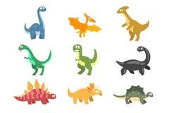 平的传染媒介套动画片恐龙 侏罗世滑稽的动物  明信片的,儿童图书,贴纸元素或 库存例证