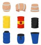 平的传染媒介套各种各样的桶 啤酒或酒的,塑料储水箱,有原油的金属桶木容器 向量例证