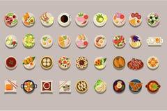 平的传染媒介套各种各样的盘 详细的食物象 咖啡和绿茶 烹饪题材 可口膳食 要素 皇族释放例证