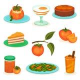平的传染媒介套柿子点心和饮料 蛋糕、酸奶和圆滑的人 甜和鲜美果子 沙拉,果酱银行  库存例证