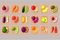 平的传染媒介套水果和蔬菜在木切板 自然和鲜美产品 烹调鸡蛋的桂香撒粉于成份螺母香料糖香草 食物 库存例证