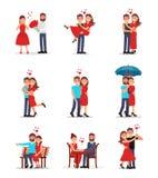 平的传染媒介套浪漫夫妇用不同的行动 年轻人和妇女漫画人物在日期 库存例证