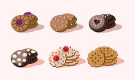 平的传染媒介套用不同的装饰的可口曲奇饼 快餐甜点 鲜美酥皮点心产品 库存例证