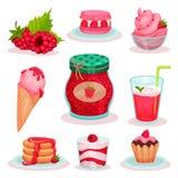 平的传染媒介套莓食物和饮料 冰淇凌、瓶子果酱,新鲜的鸡尾酒和鲜美点心 菜单的元素 向量例证