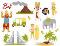 平的传染媒介套象与巴厘岛题材有关 火山,历史纪念碑,运输,神话人物 库存例证