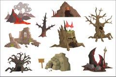 平的传染媒介套风景元素 与热的熔岩,废墟,沼泽,老树,洞,可怕树桩的火山用蘑菇 皇族释放例证