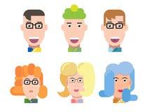 平的传染媒介字符画象集合 传染媒介具体化 微笑的愉快的人民 愉快的情感 传染媒介画象 免版税库存照片