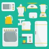 平的传染媒介厨具例证 工具背景例证厨房白色 要素例证集合向量 微波,烤箱,冰箱,咖啡机器,浓咖啡 免版税图库摄影