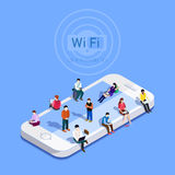 平的传染媒介隐喻人民在Wi-Fi区域 免版税库存图片