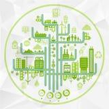 平的传染媒介eco infographics 免版税库存图片