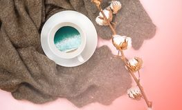 平的位置传统俄国羊毛披肩咖啡与波浪海边棉花分支的在颜色年2019居住的珊瑚 免版税库存图片