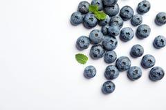 平的位置构成用鲜美蓝莓 库存图片