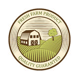 平的农厂商标标签和设计证章自然生产葡萄酒象征传染媒介 库存图片