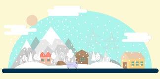 平的冬天风景 免版税库存图片