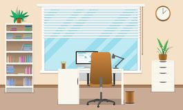 平的办公室概念例证 也corel凹道例证向量 向量例证