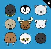 平的动物面孔冲程象动画片传染媒介设置了4 (北极) 库存例证