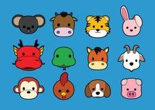 平的动物面对冲程象动画片(中国黄道带) 免版税库存照片