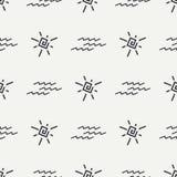 平的单色传染媒介无缝的夏天太阳样式 免版税库存图片