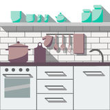平的厨房室 图库摄影