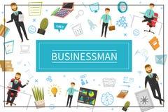 平的商人元素概念 向量例证