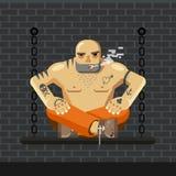 平的囚犯 橙色监狱的人给坐与链子和抽烟的一条长凳穿衣-导航例证 免版税图库摄影