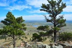平的土地科罗拉多视图从山的 免版税库存照片