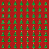 平的圣诞树无缝的样式 库存图片