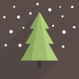 平的圣诞树 免版税库存图片