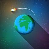 平的在地球附近的太空火箭飞行的设计彩色插图 库存照片