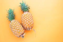 平的在橙色颜色背景的位置整个菠萝 库存照片