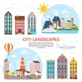 平的城市风景元素集 向量例证