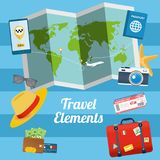 平的夏天旅行的元素的设计样式现代传染媒介例证 库存例证