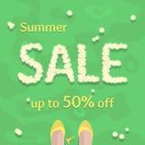 平的夏天销售传染媒介横幅,海报,飞行物 免版税库存图片