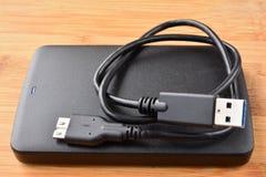 平的外部USB光盘 免版税库存照片