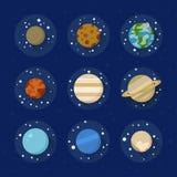平的太阳系行星 免版税库存照片
