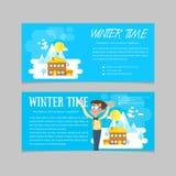 平的套冬天风景 滑雪胜地和一点房子山的 平的样式:在山的冬时 套横幅为 免版税库存照片