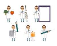 平的套有巨大的医疗对象的妇女医生 库存例证