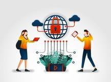 平的字符 互联网服务供应商提供用户以客服和保障系统 协助由证券业 向量例证