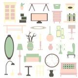 平的家电家具和室内装璜 免版税库存照片