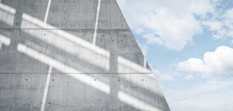 水平的宽有反射表面上的阳光的照片空白脏的光滑的光秃的混凝土墙 空的摘要 免版税库存照片