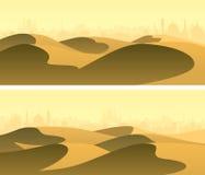 水平的宽有城市的横幅含沙沙漠天际的 库存图片